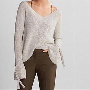Tie Sleeve Split Back Sweater
